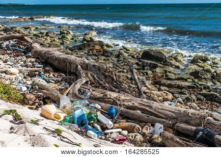 Mexico Coastline ocean Pollution Problem with plastic litter 7