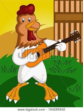 Happy Rooster Playing Guitar Cartoon. Vector Illustration.