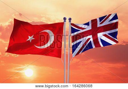 UNITED KINGDOM Flag with Turkey flag, 3D rendering