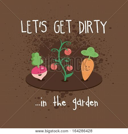 Dirty Garden Kawaii Cute Vegetables Turnip Carrot Tomatoes