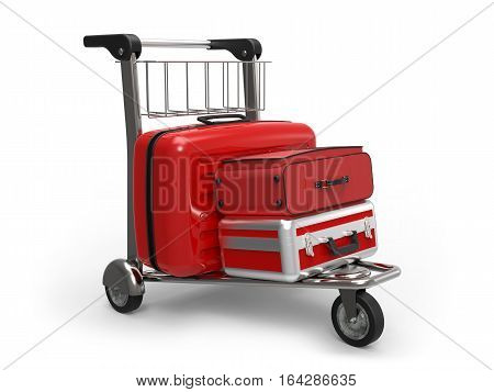 Airport luggage trolley with suitcases on white background 3D rendering