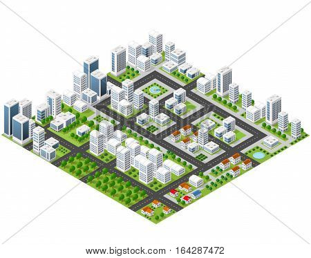 Great 3D metropolis of skyscrapers houses gardens and streets in a three-dimensional isometric view