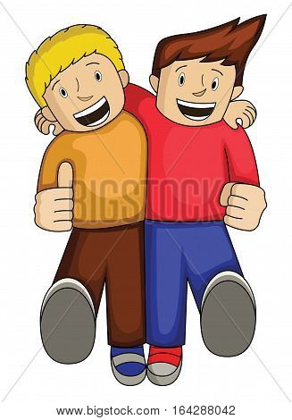 Best Friend Cartoon. Two Men Walking Together Happily with Hand on Shoulders. Vector Illustration.