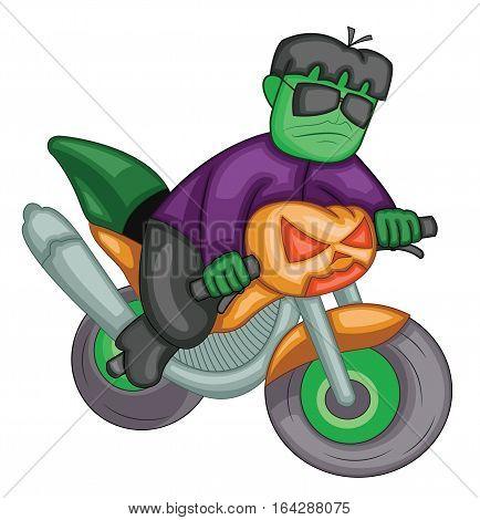 Frankenstein Riding Pumpkin Lantern Bike Cartoon Illustration