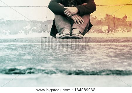 Homeless person,Poverty issue concept and ideas background