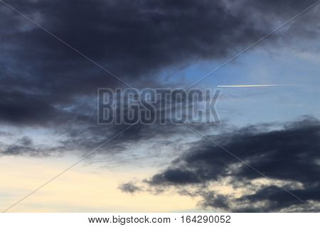 sky in sunset and raincloud art beautiful in nature space for add text