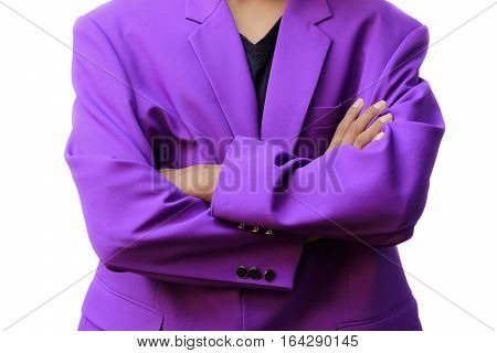 businessman standing arm crossed beautiful fashion on white background