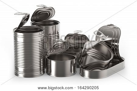 Open metal tin cans on white background 3D rendering