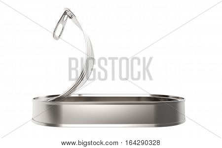 Long open metal tin can on white background 3D rendering