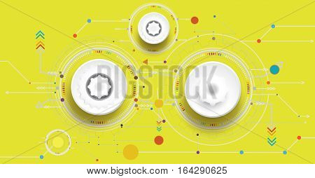 Vector illustration colorful and gear wheel on circuit board Hi-tech digital technology and engineering digital telecoms technology concept Abstract futuristic- technology on yellow color background