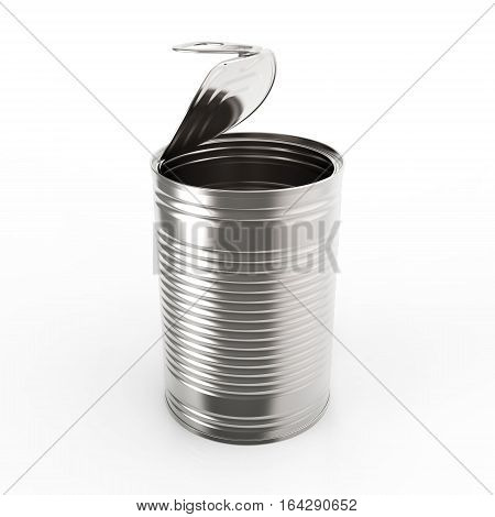 Open metal tin can on white background 3D rendering