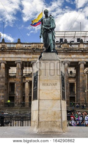 Bogota, Colombia - December 11, 2016: Plaza de Bolivar is a historic square in the heart of Bogota. In the square stands a statue of Simon Bolivar created in 1846. It is the first public monument in Bogota