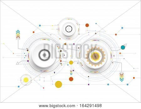 Vector illustration colorful and gear wheel on circuit board Hi-tech digital technology and engineering digital telecoms technology concept Abstract futuristic- technology on white color background
