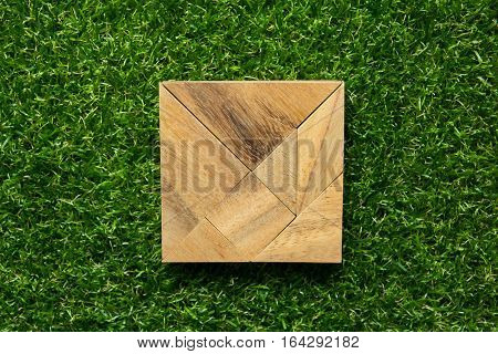 Tangram in square shape on green grass background