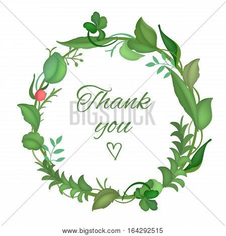 Postcard with a round frame of leaves with caligraphy text on white background. Design for greeting cards, wedding invitations. Spring colorful Wreath of Leaves. Vector illustration