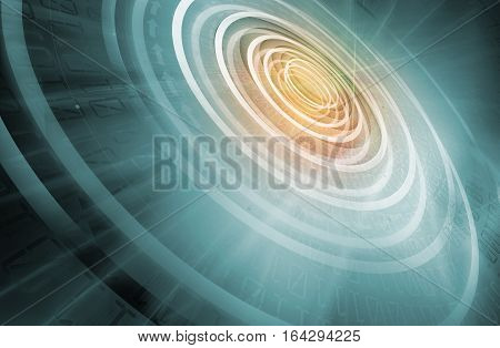 Graphical Digital World Background Concentric Circles Expanding From Center to Edges Growing Business through the World.