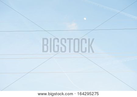 Electric Powerlines On Nature Background