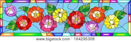 Illustration in stained glass style with flowersbuds and leaves of zinnias in a bright framehorizontal orientation