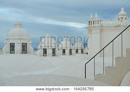 White roof with staircase in central cathedral in Leon NIcaragua,