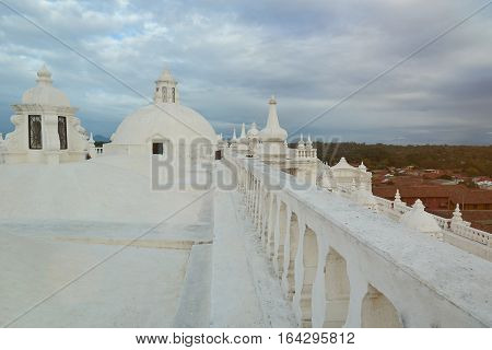 Panorama of leon city in Nicaragua view from cathedral white roof