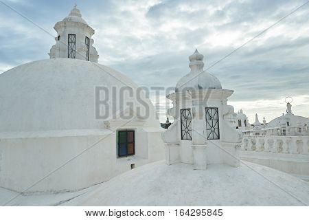 White towers on roof in central cathedral of Leon Nicaragua
