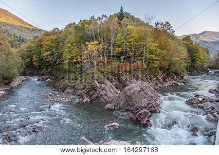 Russia the Republic of Adygea . The merger of the Belaya River and Kishi river a little below the village Guzeripl .
