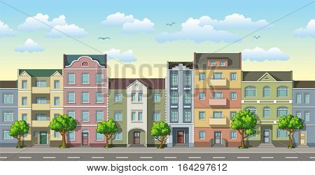Seamless cityscape cartoon background with trees, vector