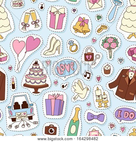 Traditional bride groom wedding icons seamless pattern engaged couple and bridal party accessories isolated. Vector illustration love marriage cake. Beautiful happy invitation background.