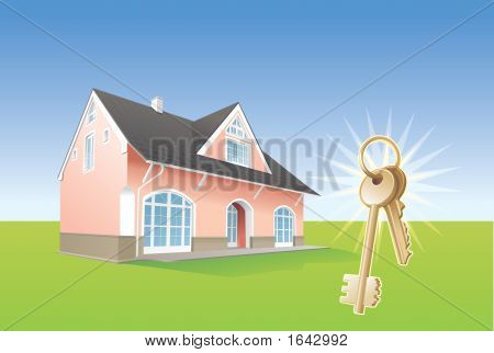 Keys, New Home, Realty, Real Estsate. Illustration