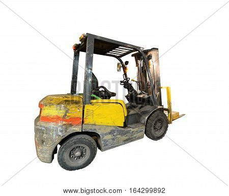 Old, scratched forklift. Isolated on white background