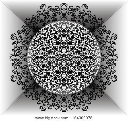 The motif of a mandala flower pattern. black and white. Mandala tribal pattern. Ethnic fabric motifs. Vector abstract mandala flower. Decorative elements for design. EPS 10
