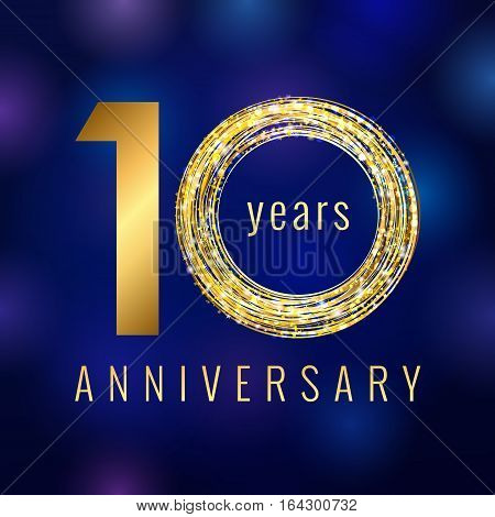 Anniversary 10 years number golden vector logo. Birthday greeting card with shining holiday icon on the blue abstract background. Business success stock sign. Celebration event symbol.