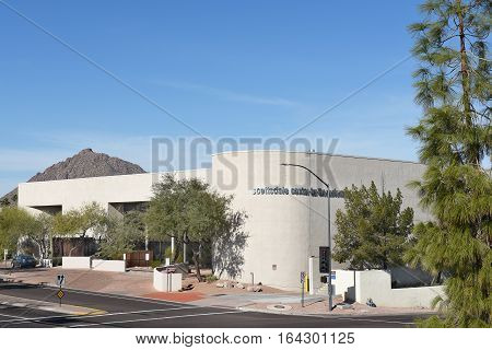 SCOTTSDALE ARIZONA - DECEMBER 9 2016: Scottsdale Center for the Performing Arts. This center artistic performances in a range of genres features an 853-seat theater.