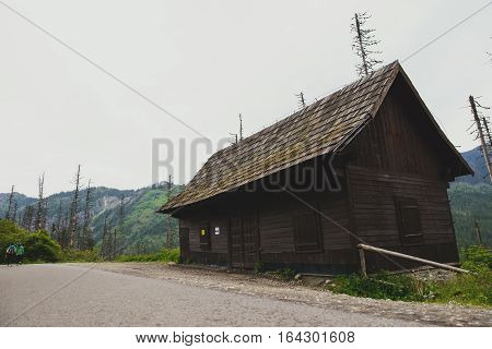 Old Wooden Hut Cabin In Mountain