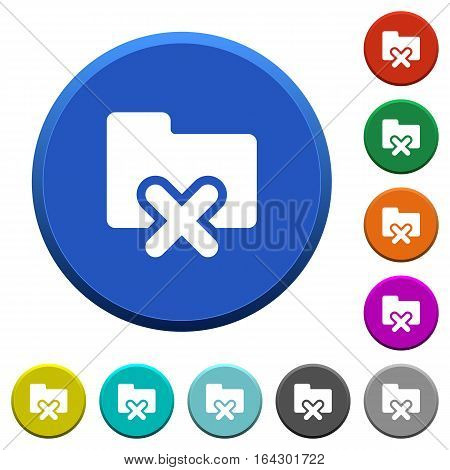 Cancel folder round color beveled buttons with smooth surfaces and flat white icons