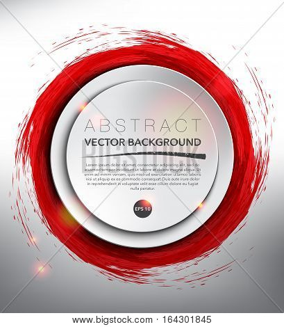 Abstract vector background. Round paper note on the red, hand-drawn watercolor design with realistic light and shadow on the white background. Vector illustration. Eps10.