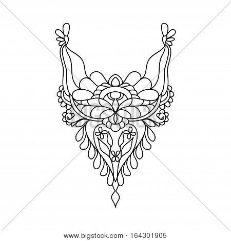 Vector floral neckline design for fashion. Flowers and leaves neck print. Chest embellishment. Ethnic indian ornament