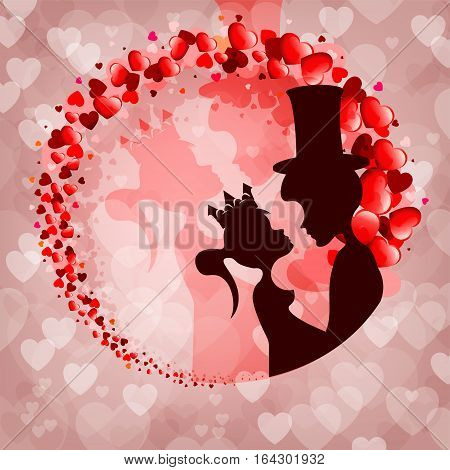 The design of their silhouettes of the Prince and Princess on a pink background of hearts in the shape of a circle