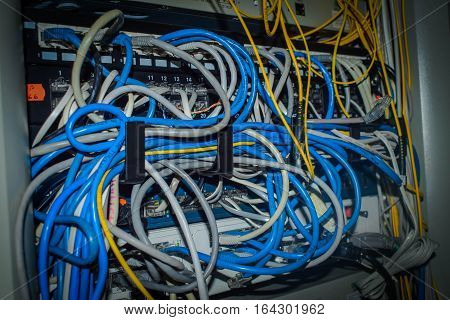 a lot of wires online,Network panel, switch and cable in data center, messy