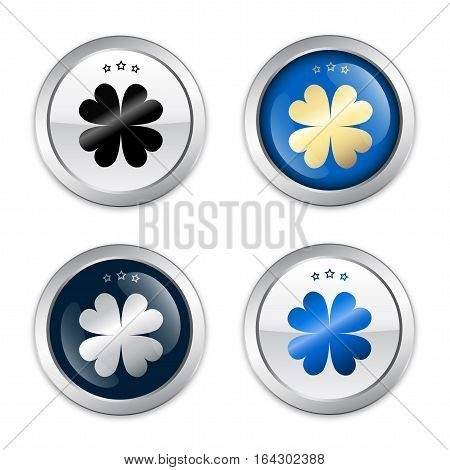 Luck seals or icons with clover symbol. Glossy silver seals or buttons.
