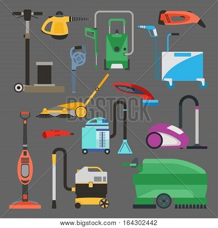 Professional cleaning equipment isolated on white background. Vector service housework tools. Room floor hygiene product disinfect chemical washing. poster