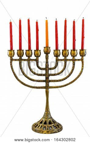jewish holiday Hanukkah background with menorah candles isolated on white