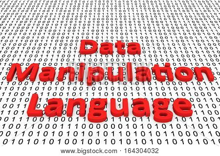 data manipulation language in the form of binary code, 3D illustration