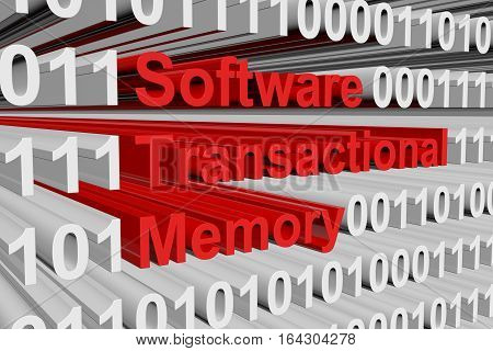 Software transactional memory as a binary code 3D illustration
