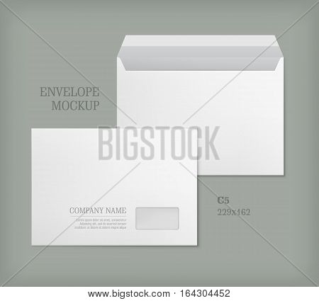 Open and closed white empty envelopes for letters and documents. Paper blank template with transparent window. Mockup post envelope C5 size. Vector illustration isolated on gray background.