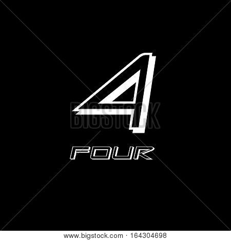 four numeral vector design illustrator with black background