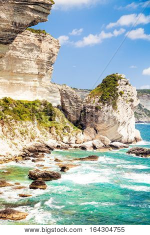 a corsican landscape, with the white cliffs near the city of bonifacio