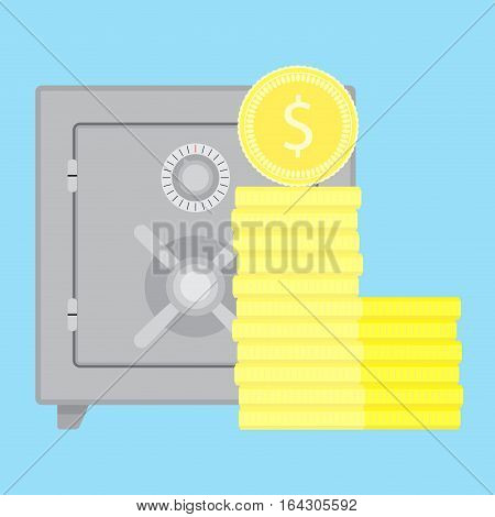 Storage money in safe. Save money in bank safe protect money vector illustration