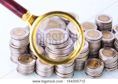 Money Under Loupe. Zoom On Home Finances