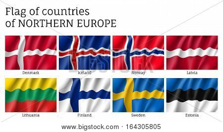 Set of waving flags of Northern Europe countries. States national ensigns: Estonia and Norway, Latvia and Lithuania, Iceland and Finland, Sweden and Denmark. Vector 3d icons isolated on white.